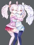 2girls :< absurdres alternate_costume animal_ears azur_lane bangs bare_shoulders between_legs black_legwear brown_eyes bunny_ears closed_mouth dual_persona eyebrows_visible_through_hair fur-trimmed_jacket fur_trim gloves greentree grey_background hair_between_eyes hair_ornament hairband highres hug jacket laffey_(azur_lane) long_hair long_sleeves looking_at_viewer looking_to_the_side lying multiple_girls off_shoulder on_back on_side one_eye_closed pantyhose parted_lips pillow pink_jacket pleated_skirt pocket red_hairband red_skirt shirt short_shorts shorts sidelocks silver_hair simple_background skirt sleeveless sleeveless_shirt sleeves_past_fingers sleeves_past_wrists thighhighs triangle_mouth twintails upper_teeth very_long_hair white_gloves white_legwear white_shirt white_shorts