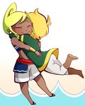 1boy 1girl ass blonde_hair boots bracer brown_footwear closed_eyes couple dark_skin earrings green_hair hug jewelry leg_up link midriff pointy_ears sandals short_hair shorts tetra the_legend_of_zelda the_legend_of_zelda:_the_wind_waker toon_link white_leegwear