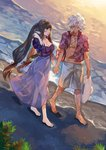 1boy 1girl alternate_costume amakusa_shirou_(fate) barefoot beach black_hair blush breasts cleavage closed_eyes commentary_request cross cross_necklace dark_skin fate/apocrypha fate_(series) floral_print holding_hands jewelry large_breasts long_hair necklace ocean outdoors pointy_ears sand semiramis_(fate) smile very_long_hair water white_hair yinghuo