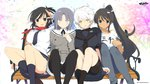 4girls asuka_(senran_kagura) bench black_hair black_serafuku blazer blue_eyes blush bow breasts brown_hair cherry_blossoms copyright_name dark_skin denim emblem hair_ornament high_ponytail highres homura_(senran_kagura) huge_breasts jeans legs_up long_hair miyabi_(senran_kagura) multiple_girls necktie off_shoulder open_mouth pants pleated_skirt ponytail ribbon school_uniform senran_kagura senran_kagura_(series) senran_kagura_shinovi_versus serafuku serious short_hair short_ponytail sitting sitting_on_object skirt smile t-shirt tan_skin thighhighs very_long_hair white_hair yaegashi_nan yellow_eyes yumi_(senran_kagura)