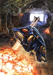 a.d_(archerdu) absurdres animal battle cat copyright_request explosion flying highres laser monster parody science_fiction space_craft tunnel video_game
