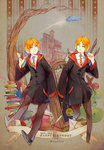 2boys bird birthday blue_eyes book cloak flying_car fred_weasley george_weasley happy_birthday harry_potter multiple_boys necktie orange_hair owl red_string siblings skyness string twins wand