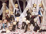 6+girls ahoge ankle_boots arm_support artoria_pendragon_(all) artoria_pendragon_(lancer) artoria_pendragon_(lancer_alter) ascot belt_boots black_footwear black_legwear blue_eyes boots bow breasts brown_eyes commentary_request cross-laced_footwear curtains fate/apocrypha fate/extra fate/grand_order fate/stay_night fate/unlimited_codes fate_(series) green_eyes hair_bow highres jeanne_d'arc_(alter)_(fate) jeanne_d'arc_(fate) jeanne_d'arc_(fate)_(all) jewelry katana knee_boots koha-ace lace-up_boots large_breasts long_hair looking_at_viewer military military_uniform multiple_girls necklace nero_claudius_(fate) nero_claudius_(fate)_(all) okita_souji_(fate) okita_souji_(fate)_(all) petals pillar pink_hair pose saber saber_alter saber_lily short_hair sidelocks silver_hair sitting skirt smile sword thighhighs uniform veil very_long_hair weapon yellow_eyes zerocastle zettai_ryouiki