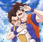 2boys armor artist_name blue_sky brown_eyes brown_hair clenched_teeth cloud collarbone day dougi dragon_ball dragon_ball_z highres leaf male_focus mewwi_chutarat multiple_boys muscle open_mouth signature sky smile son_gokuu spiked_hair sweatdrop teeth trembling v vegeta wristband