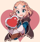 1girl beige_background black_cape black_gloves blue_eyes blue_shirt blush_stickers braid cape commentary cropped_torso fingerless_gloves gameplay_mechanics gloves hair_ornament hairclip happy_valentine heart highres holding holding_heart long_sleeves looking_at_viewer medium_hair nazonazo_(nazonazot) open_mouth pointy_ears princess_zelda shirt short_over_long_sleeves short_sleeves smile solo the_legend_of_zelda the_legend_of_zelda:_breath_of_the_wild the_legend_of_zelda:_breath_of_the_wild_2 triforce_print upper_body valentine