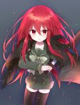 1girl absurdres alastor_(shakugan_no_shana) black_legwear bow coat cowboy_shot green_bow green_serafuku green_skirt highres jewelry kakizato long_hair looking_at_viewer pendant red_eyes red_hair school_uniform shakugan_no_shana shana skirt solo sword thighhighs trench_coat weapon