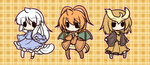 0_0 3girls brown_hair capelet chibi dewgong dragonite fang fushigi_ebi highres horn long_hair multiple_girls noctowl orange_hair outline personification plaid plaid_background pokemon pokemon_(game) pokemon_gsc pokemon_rgby smile solid_oval_eyes tail white_hair wings