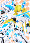 1girl altrene armor blonde_hair blue_eyes busou_shinki elbow_gloves gloves long_hair md5_mismatch mecha_musume navel open_mouth r0g0b0 solo sword thighhighs weapon