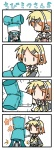 2girls 4koma chibi chibi_miku comic commentary_request hammer hatsune_miku kagamine_rin minami_(colorful_palette) multiple_girls silent_comic spring_onion translated vocaloid |_|