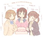 3girls 7010 :d ;q amami_haruka blue_neckwear breasts brown_eyes brown_hair cake commentary_request eyebrows_visible_through_hair food green_eyes hair_ribbon hands_up idolmaster idolmaster_(classic) idolmaster_cinderella_girls idolmaster_shiny_colors mimura_kanako multiple_girls one_eye_closed open_mouth red_ribbon ribbon short_hair simple_background smile sonoda_chiyoko tongue tongue_out translation_request white_background