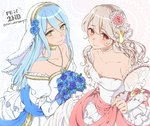 2girls aomeeso aqua_(fire_emblem_if) blue_hair blush dress elbow_gloves female_my_unit_(fire_emblem_if) fire_emblem fire_emblem_heroes fire_emblem_if gloves hairband highres jewelry long_hair looking_at_viewer multiple_girls my_unit_(fire_emblem_if) pointy_ears red_eyes smile very_long_hair wedding_dress white_hair yellow_eyes