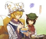 2girls aburaage animal_ears blonde_hair brown_hair cat_ears chen chopsticks food fox_ears fox_tail gradient gradient_background hat jewelry long_sleeves looking_at_another mob_cap multiple_girls multiple_tails open_mouth orange_eyes rice rice_bowl shirt short_hair single_earring sitting smile sweatdrop tabard table tail text touhou translated upper_body urin vest wide_sleeves yakumo_ran yellow_eyes