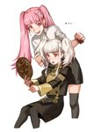 2girls alternate_hairstyle black_legwear comb fire_emblem fire_emblem:_three_houses hand_mirror highres hilda_valentine_goneril holding long_hair long_sleeves lysithea_von_ordelia mirror multiple_girls open_mouth pantyhose pink_eyes pink_hair sawarame7674 simple_background thighhighs twintails uniform white_background white_hair zettai_ryouiki