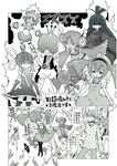 1boy accelerator afro bad_id bad_pixiv_id bangs blunt_bangs charlotte_(madoka_magica) comic crown dress_shirt familiar_(madoka_magica) greyscale grin highres kosshii_(masa2243) long_hair mahou_shoujo_madoka_magica monochrome shirt short_hair skirt sleeves_past_wrists smile striped striped_sweater sweater to_aru_majutsu_no_index translated twintails wings