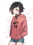 1girl black_hair blush ecru md5_mismatch multicolored_hair red_hair red_sweater ruby_rose rwby shorts silver_eyes solo sweater