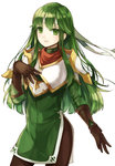 1girl breastplate cowboy_shot dress fire_emblem fire_emblem:_monshou_no_nazo fire_emblem:_shin_ankoku_ryuu_to_hikari_no_tsurugi fire_emblem_echoes:_mou_hitori_no_eiyuuou gloves green_dress green_eyes green_hair headband jurge leather leather_gloves long_hair looking_at_viewer pantyhose paola short_dress side_slit simple_background smile solo white_background