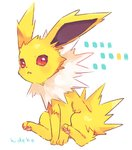 :< artist_name closed_mouth full_body gen_1_pokemon hideko_(l33l3b) jolteon looking_at_viewer no_humans pokemon pokemon_(creature) red_eyes signature simple_background sitting solo white_background