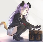 1girl animal_ears bag bangs black_footwear black_gloves black_jacket black_legwear blush bow chain closers commentary commission dog_ears dog_girl dog_tail english_commentary eyebrows_visible_through_hair full_body gloves highres hikari_niji holding jacket long_hair long_sleeves looking_at_viewer mary_janes parted_lips purple_bow purple_eyes purple_hair shirt shoes skirt solo squatting tail tail_raised thighhighs tina_(closers) upper_teeth very_long_hair white_shirt white_skirt