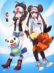 2girls baseball_cap black_legwear breasts brown_hair cherry_blossoms cleavage denim denim_shorts double_bun full_body hat mei_(pokemon) multiple_girls open_mouth oshawott pantyhose pantyhose_under_shorts poke_ball pokemon pokemon_(game) pokemon_bw pokemon_bw2 ponytail ryunryun shirt short_hair shorts smile tank_top teeth tepig touko_(pokemon) twintails vest visor_cap wristband