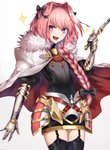 1boy :d armor astolfo_(fate) bangs black_bow black_legwear black_ribbon bow braid buckle cape commentary_request cowboy_shot cross eyebrows_visible_through_hair fang fate/apocrypha fate/grand_order fate_(series) faulds fur-trimmed_cape fur_collar fur_trim garter_straps gauntlets gloves hair_between_eyes hair_bow hair_intakes hair_over_shoulder hair_ribbon highres holding holding_sword holding_weapon legs_together long_braid long_hair looking_at_viewer male_focus multicolored_hair open_mouth otoko_no_ko pink_hair purple_eyes ribbon shiny shiny_hair simple_background single_braid smile solo sparkle standing streaked_hair sword thighhighs v-shaped_eyes w weapon white_background white_cape white_hair yukihama