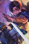 1boy belt black_hair blood blood_on_face closed_mouth commentary_request dual_wielding emblem grey_eyes highres holding levi_(shingeki_no_kyojin) nuri_kazuya paradis_military_uniform reverse_grip shingeki_no_kyojin short_hair strap survey_corps_(emblem) sword thigh_strap three-dimensional_maneuver_gear weapon wire