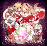 4girls :d animal_ears black_choker blonde_hair blush boots breasts brown_footwear brown_hair candy candy_cane cheety_(show_by_rock!!) chino_machiko choker cleavage closed_eyes closed_mouth fennery_(show_by_rock!!) fingernails food fur_trim gift high_heel_boots high_heels hug hug_from_behind jewelry kneeling laina_(show_by_rock!!) legs_together merry_christmas multiple_girls nail_polish necklace open_mouth pants purple_eyes red_nails red_pants sack shoes show_by_rock!! smile tail thighhighs yellow_neckwear zebrina_(show_by_rock!!)