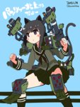 1girl :o animal_ears bangs black_hair blunt_bangs blush_stickers cannon cat_ears cat_tail clenched_hands dated fighting_stance green_legwear green_skirt gun highres kantai_collection kitakami_(kantai_collection) kneehighs kuro_chairo_no_neko liger_zero liger_zero_panzer long_hair long_sleeves machinery missile_pod neckerchief pleated_skirt school_uniform serafuku skirt solo tail translated twitter_username weapon zoids zoids_shinseiki/zero
