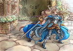 2girls armor back-to-back black_bow black_legwear blonde_hair bow brown_eyes brown_hair building butt_crack cape earrings floating_hair flower gauntlets granblue_fantasy hair_bow high_heels holding holding_sword holding_weapon impossible_armor impossible_clothes jewelry katarina_(granblue_fantasy) long_hair multiple_girls open_mouth plant ponytail red_eyes shouma_(bravespiritya) sword vila weapon window