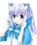 1girl :o adjusting_clothes animal_ears bangs blue_bow blue_capelet blue_eyes blush bow buttons capelet commentary_request eyebrows_visible_through_hair fang gochuumon_wa_usagi_desu_ka? hagakuri hair_between_eyes hair_ornament hairclip highres hooded_capelet kafuu_chino kemonomimi_mode light_blue_hair long_hair looking_at_viewer open_mouth ponytail shirt sidelocks simple_background solo striped striped_bow upper_body white_background white_shirt wolf_ears x_hair_ornament
