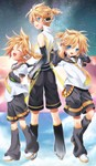 3boys absurdres arm_warmers blonde_hair blue_eyes detached_sleeves headphones highres kagamine_len kagamine_len_(append) leg_warmers male_focus multiple_boys multiple_persona open_mouth shorts sinwa_(tamaki) sky smile star_(sky) starry_sky vocaloid vocaloid_append