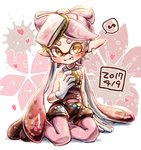 +_+ 1girl :t ankle_boots aori_(splatoon) black_footwear black_hair black_jumpsuit blush boots brown_eyes closed_mouth commentary dated detached_collar domino_mask earrings eating eighth_note food food_on_face food_on_head gloves gradient_hair harutarou_(orion_3boshi) heart holding holding_food jewelry leaf long_hair looking_at_viewer mask mole mole_under_eye multicolored_hair musical_note object_on_head paint_splatter pantyhose petals pink_hair pink_legwear pointy_ears sakura_mochi short_jumpsuit sitting smile solo sparkle splatoon_(series) splatoon_1 spoken_musical_note strapless tentacle_hair wagashi white_gloves yokozuwari