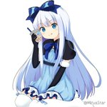 1girl :q bangs black_capelet black_gloves blue_bow blue_dress blue_eyes blue_hair bow bubble_tea capelet closed_mouth commentary_request copyright_request cup disposable_cup dress drinking_straw elbow_gloves eyebrows_visible_through_hair fur-trimmed_gloves fur_trim gloves hair_between_eyes hair_bow head_tilt holding holding_cup long_hair miicha ribbon-trimmed_legwear ribbon_trim simple_background sitting smile solo thighhighs tongue tongue_out twitter_username very_long_hair wariza white_background white_legwear