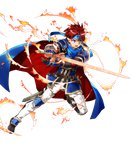 1boy armor blue_armor blue_eyes bunbun cape fire_emblem fire_emblem:_fuuin_no_tsurugi fire_emblem_heroes full_body gloves headband looking_at_viewer male_focus red_hair roy_(fire_emblem) short_hair smile solo sword transparent_background weapon
