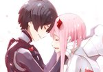 1boy 1girl black_hair bodysuit closed_eyes commentary_request crying darling_in_the_franxx forehead-to-forehead from_side gloves hands_on_another's_face happy happy_tears hiro_(darling_in_the_franxx) horns hoshizaki_reita open_mouth pink_hair profile smile tears white_background white_gloves zero_two_(darling_in_the_franxx)