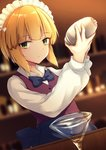 1girl apron bangs bartender blonde_hair blue_apron blue_neckwear blurry blurry_background bow bowtie brown_vest closed_mouth cocktail_glass cocktail_shaker commentary_request cup cutlass_(girls_und_panzer) depth_of_field drinking_glass eyebrows_visible_through_hair frilled_apron frills girls_und_panzer hair_bow hands_up highres holding indoors kashiwagi_yamine long_sleeves maid_headdress shirt solo vest white_bow white_shirt yellow_eyes