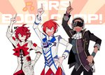 3boys arsloid bad_id bad_twitter_id bandages beamed_eighth_notes black_hair cravat cyber_songman dark_skin dark_skinned_male fukase hand_on_hip head_flag headphones jacket male_focus multiple_boys musical_note pants pointing pointing_up red_hair red_pants red_sclera saturday_night_fever scar shaved_head smile sunglasses uoshi_(uoshi777) vocaloid wristband