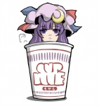 1girl :< crescent cup cup_ramen hat in_container in_cup long_hair minigirl murasaki_ramen patchouli_knowledge purple_eyes purple_hair solo touhou