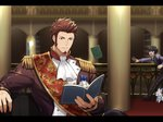 1boy 47_(479992103) beard blue_eyes book brown_hair brown_jacket cravat epaulettes facial_hair fate/grand_order fate_(series) fou_(fate/grand_order) fujimaru_ritsuka_(male) holding holding_book indoors jacket letterboxed library long_sleeves male_focus medal military military_uniform muscle napoleon_bonaparte_(fate/grand_order) pants reading sash scar sideburns sitting solo_focus uniform upper_body