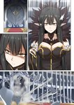 1girl breasts chain cleavage commentary_request door dust_particles explosion fate/grand_order fate_(series) fur_trim ginhaha large_breasts long_hair pointy_ears red_carpet semiramis_(fate) shards slit_pupils solo surprised sweat very_long_hair yellow_eyes