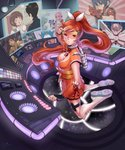 3boys 6+girls bird black_hair blue_hair blush boots breasts brown_hair buttons cleavage closed_eyes copyright_request crunchyroll fingerless_gloves floating_hair gloves hair_ribbon high_ponytail highres hime_(crunchyroll) jasmin_darnell long_hair mascot mecha multicolored_hair multiple_boys multiple_girls orange_eyes orange_hair orange_skirt parted_lips penguin pink_hair pleated_skirt ribbon screen shirt short_hair short_sleeves skirt space twintails two-tone_hair very_long_hair white_hair white_ribbon