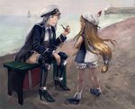 2girls amibazh azur_lane beach bench blonde_hair bloomers blurry boat boots charles_ausburne_(azur_lane) child closed_eyes crossed_arms depth_of_field enterprise_(azur_lane) faux_traditional_media gloves hat hat_feather high_heels horizon knee_boots leaning_forward lighthouse lips long_hair low-tied_long_hair multiple_girls necktie ocean peaked_cap pier pipe sailboat sailor_collar sailor_hat silver_hair sitting skirt sky sleeveless smile texture thighhighs underwear uniform watercraft white_gloves