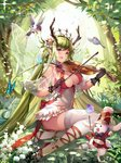 1girl ankle_ribbon antlers black_gloves breasts bunny cleavage covered_navel fairy fairy_wings flower gloves green_hair hair_flower hair_ornament high_heels highres instrument issign large_breasts long_hair looking_at_viewer outdoors pointy_ears ribbon shadowverse sitting solo sparkle thighhighs very_long_hair violin white_legwear wings yokozuwari
