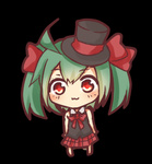 1girl :3 aqua_hair barefoot bow bowtie chibi full_body hair_bow hat hatsune_miku lowres red_eyes simple_background solo top_hat tosura-ayato twintails vocaloid