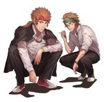 2boys absurdres brown_eyes check_character cigarette commentary_request facepaint full_body gakuen_basara green_headband grey_footwear headband highres jacket_on_shoulders jewelry looking_at_viewer male_focus multiple_boys necklace ponytail red_footwear red_headband samuraisamurai sanada_yukimura_(sengoku_basara) sarutobi_sasuke sengoku_basara serious shirt shoes sideburns simple_background sneakers squatting white_background white_shirt