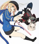 2girls ahoge artoria_pendragon_(all) bangs baseball_cap black_shorts blonde_hair blue_jacket blue_scarf braid commentary_request eyebrows_visible_through_hair fate/grand_order fate_(series) green_eyes hair_between_eyes hair_ribbon hat holding jacket long_hair long_sleeves looking_at_viewer multiple_girls mysterious_heroine_x mysterious_heroine_x_(alter) ponytail ribbon scarf shiseki_hirame short_hair shorts simple_background sword track_jacket upside-down weapon white_background yellow_eyes