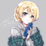 1girl artist_name bangs blonde_hair blue_eyes braid casual closed_mouth commentary darjeeling english_text eyebrows_visible_through_hair gift girls_und_panzer grey_sweater head_tilt highres holding holding_gift kuroi_mimei light_blush looking_at_viewer ribbed_sweater shawl short_hair signature sketch smile solo sweater tied_hair turtleneck upper_body valentine