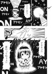 (o)_(o) 1girl :< black_background chibi comic eighth_note emphasis_lines glowing greyscale hat hidefu_kitayan monochrome motion_lines musical_note puffy_short_sleeves puffy_sleeves shameimaru_aya short_hair short_sleeves skirt solo tokin_hat touhou translated triangle_mouth