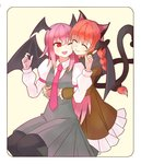 2girls ;d ^_^ animal_ears armband arpee bat_wings black_border black_dress black_legwear border bow braid brown_dress cat_ears cat_tail cheek-to-cheek closed_eyes commentary_request cowboy_shot dress dress_shirt eyebrows_visible_through_hair frilled_dress frills hair_bow hair_ribbon happy head_wings highres hug hug_from_behind juliet_sleeves kaenbyou_rin koakuma long_hair long_sleeves looking_at_another looking_back multiple_girls multiple_tails necktie one_eye_closed open_mouth pantyhose pinafore_dress puffy_sleeves red_eyes red_hair red_neckwear ribbon shirt sidelocks simple_background smile tail touhou tress_ribbon very_long_hair wings yellow_background
