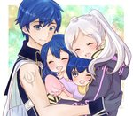 2boys 2girls ^_^ arm_tattoo blue_eyes blue_hair blush brother_and_sister cape closed_eyes commentary_request eyebrows_visible_through_hair family father_and_daughter father_and_son female_my_unit_(fire_emblem:_kakusei) fire_emblem fire_emblem:_kakusei floral_background gloves group_hug happy hood hood_down hug krom looking_at_another lucina mark_(fire_emblem) mark_(male)_(fire_emblem) mother_and_daughter mother_and_son multiple_boys multiple_girls my_unit_(fire_emblem:_kakusei) one_eye_closed open_mouth puni_(thw0lau0etfzzfh) short_hair siblings silver_hair smile tattoo twintails upper_body younger