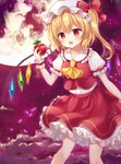 1girl apple ascot bangs blonde_hair blush bow breasts center_frills cloud commentary crystal eyebrows_visible_through_hair feet_out_of_frame flandre_scarlet food fruit full_moon hair_between_eyes hand_up hat hat_bow holding holding_food holding_fruit long_hair mayo_(miyusa) miniskirt mob_cap moon night night_sky one_side_up open_mouth outdoors petals petticoat puffy_short_sleeves puffy_sleeves red_bow red_eyes red_skirt shirt short_sleeves skirt sky small_breasts solo tears touhou white_headwear white_shirt wings wrist_cuffs yellow_neckwear